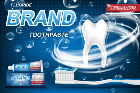 Mint toothpaste concept, isolated on blue. Tooth model and product package design for toothpaste poster or advertising. 3d Vector illustration.