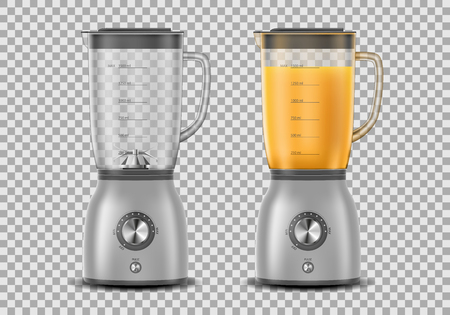 Set of juicer blender appliances in 3d illustration, one full of juice and the other one is empty