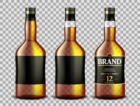 Set of whiskey, rum, bourbon or cognac glass bottle with Alcohol and without. Transparent bottles Drink in a realistic style. Vector 3d illustration Ilustrace