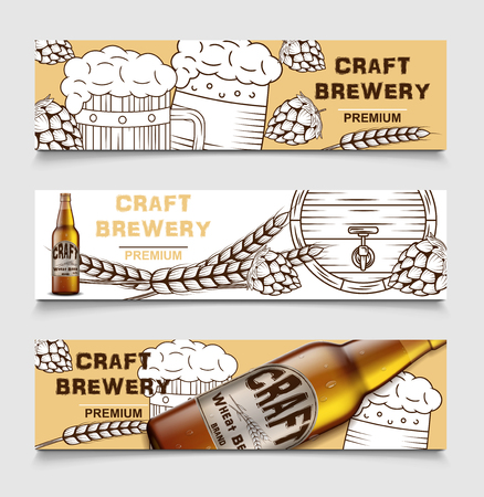 Set of beer brewery vintage vector banners with beer and hops. poster of beer card, sketch alcohol beverage. Vector illustration.