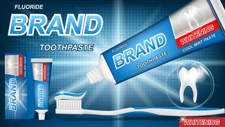 Mint toothpaste concept with sparkling effect on blue background. product package design for toothpaste poster or advertising. 3d Vector illustration. Stock Illustratie