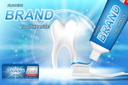 Whitening toothpaste ads. Tooth model and dental care product package design for toothpaste poster or advertising. 3d Vector illustration.