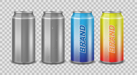 Aluminum can empty and with label. Realistic can with water drops for beer, juice or energy drink mockup isolated. Vector template for your design.