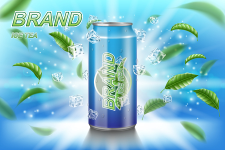 Ice tea label ads with green leaves on blue background. Package design tea drink with ice cubes for poster or banner. Realistic aluminium can mock up. Vector 3d illustration EPS 10