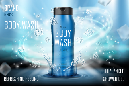 Cooling men s body wash gel with splashing water and ice cubes elements. Realistic body wash ad for poster. men s care product design. 3d vector illustration Stock Illustratie