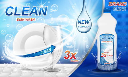 Werbung für Geschirrspülmittel. Realistische Geschirrspülverpackung aus Kunststoff mit Etikettendesign. Flüssige Waschseife mit sauberem Geschirr und Spritzwasser. 3D-Vektor-Illustration
