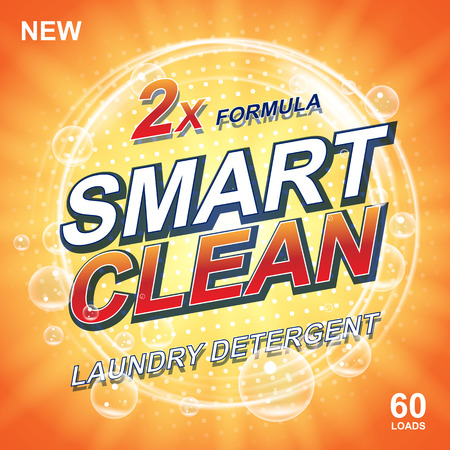 Toilet or bathroom tub soap cleanser banner ads. Laundry detergent orange Template. Washing Powder or Liquid Laundry Detergents Package design. Vector illustration