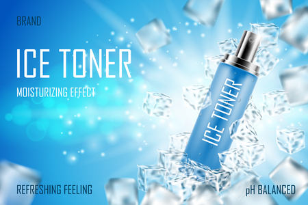 Cooling Ice toner with ice cubes. Realistic frozen refreshing spray bottle packaging ad. Skin care face toner product design. 3d vector illustration Stock Illustratie