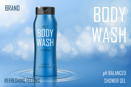 Moisture cooling body wash gel ad. Realistic body wash or shampoo bottle. Skin care packaging product design for poster or banner. 3d vector illustration