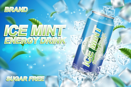 Energy drink label ads with ice cubes and mint leaves. Package design energy drink for poster or banner. Realistic aluminium can mock up. Vector 3d illustration Ilustrace