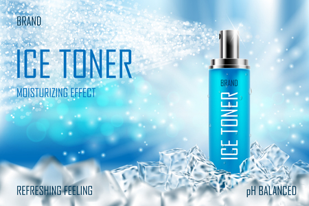 Cooling Ice toner with ice cubes. Realistic cool refreshing spray bottle packaging ad for poster. Skin care spray product design. 3d vector illustration
