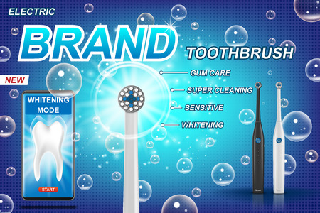 Electric toothbrush ads. vibrant brush with mobile dental app. Tooth model and product package design concept. 3d Vector illustration EPS 10