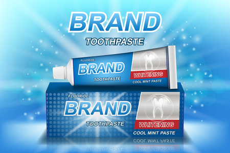 Whitening toothpaste ads isolated on blue. Tooth model and product package design for dental care poster or advertising. 3d Vector illustration. Stock Illustratie