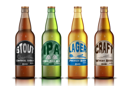 Craft Beer Label design. beer contained in glass bottle, with hops and golden ripe wheat ad. Vector 3d illustration