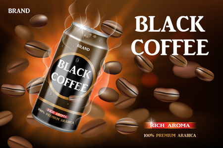Realistic black canned coffee with beans swirling around. Product coffee drink design with bokeh background. Vector 3d illustration
