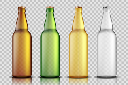 Set of Realistic glass beer bottles isolated on transparent background. blank beer bottle Mock up template for product package. Vector illustration EPS 10