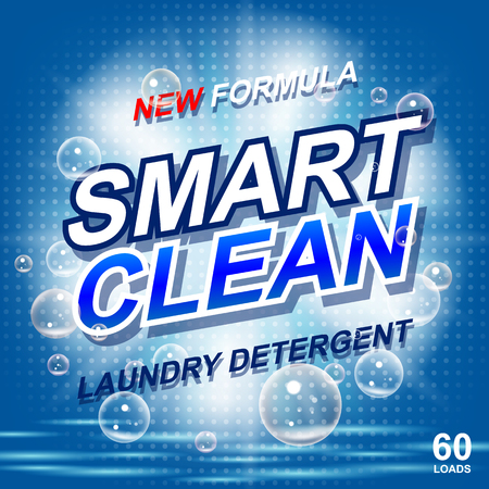 Laundry detergent package ads. Toilet or bathroom tub cleanser design. Washing machine laundry detergent packaging template. Vector illustration