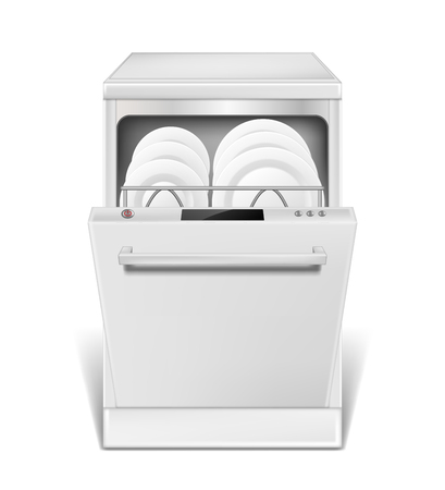 Realistic dishwasher machine with open door. White dishwasher with clean plates and glasses, front view isolated. household appliance mockup for washing dishes. 3d vector illustration EPS 10