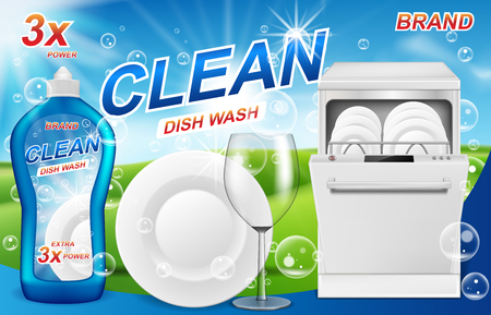 Dish wash soap ads. Realistic plastic dishwashing packaging with detergent gel design. Liquid soap with clean dishes for dishwasher machine. 3d vector illustration Stock Illustratie