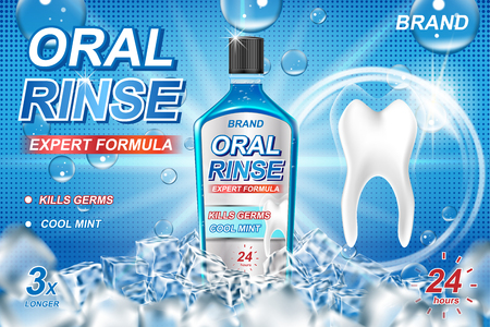 Mouth rinse ads, refreshing mouthwash product with ice cubes. White tooth and Oral rinse package Banner design on blue background. 3d vector illustration. 일러스트