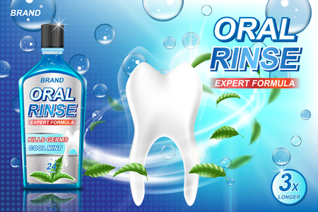 Mouth rinse ads, refreshing mouthwash product with mint leaves and aqua elements. White tooth and Oral rinse package Banner design on blue background. 3d vector illustration EPS 10