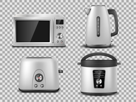 Kitchen appliances template. Realistic silver microwave, kettle, oven, juicer, toaster, multicooker silver mockup. Set of household appliance vector illustration EPS 10