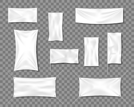 Cotton White empty smooth flag poster or placard templates set. 3d Detailed Fabric blank textile banners for advertising with folds. Vector illustration EPS 10