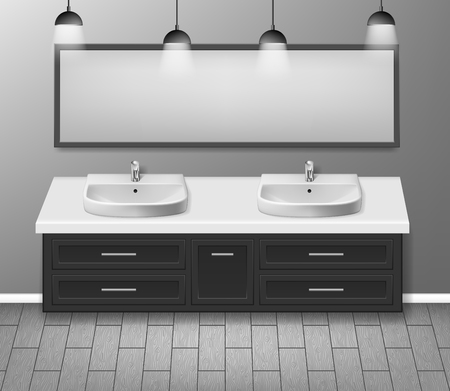 Modern realistic bathroom interior design. Bathroom furniture with bathroom sink and mirror grey wall with wooden floor. vector illustration EPS 10