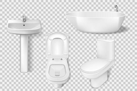 Plantilla de colección de baño realista. Inodoro blanco limpio, taza, lavabo, lavabo. Maqueta de inodoro y lavabo para el interior del baño moderno. Ilustración vectorial EPS 10