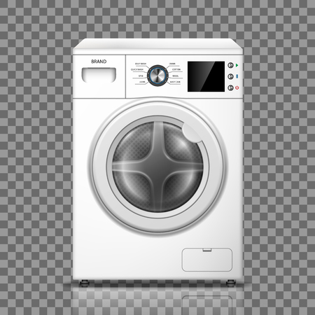 Realistic washing machine isolated on transparent background. White washer front view. Modern washing machine mockup or home appliances. vector illustration EPS 10