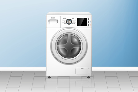 Realistic washing machine in empty laundry room. White washer front view. Modern home appliances. vector illustration EPS 10