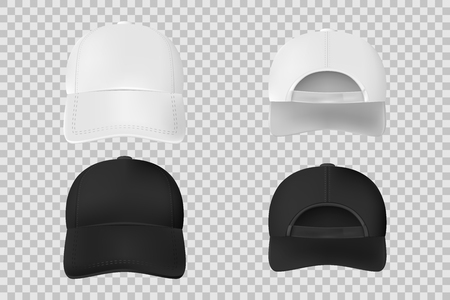 Set of baseball cap black and white mockup. Realistic cap template front and back vie isolated on transparent background. Vector illustration EPS 10