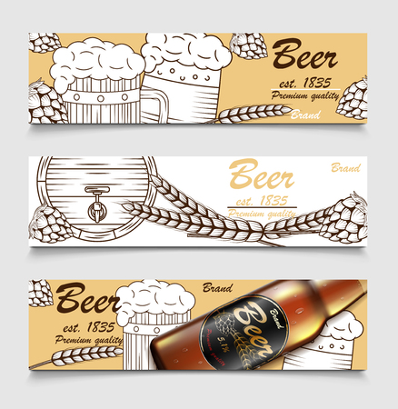 Set of cartoon banners with beer glasses, glass bottle and hops. Beer brewery vintage banner design. Sketch poster of alcohol beverage. Vector illustration Illusztráció