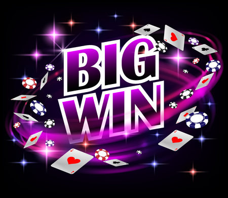 Biw win Casino Gambling Poker design. Poker banner with chips and playing cards. Online Casino Banner dark background. Vector illustration EPS 10