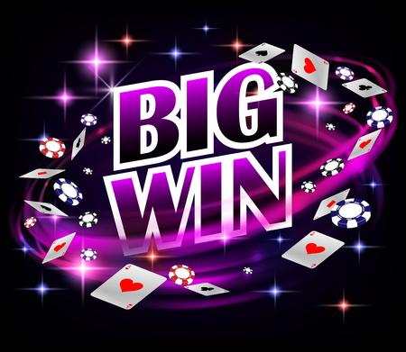 Diseño de Biw win Casino Gambling Poker. Banner de póquer con fichas y naipes. Fondo oscuro de la bandera del casino en línea. Ilustración vectorial eps 10 Ilustración de vector
