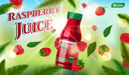 Raspberry juice bottle template for package design. fruit juice container package ad. 3d realistic Sweet food - ripe raspberry Vector illustration EPS 10