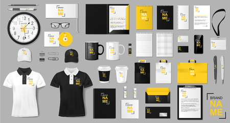 Corporate identity template design. Realistic golden and black Business Stationery mockup for shop. Stationery and uniform, paper pack, package for your brand. Vector illustration