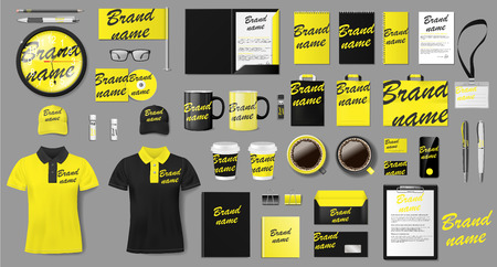 Corporate identity template design. Branding yellow and black Business Stationery mockup for shop. Stationery and uniform, package for your brand. Vector illustration