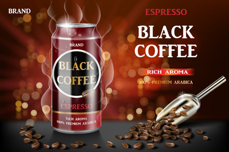 Realistic black canned espresso coffee with beans in 3d illustration. Product coffee drink design with bokeh background. Vector Stock Illustratie