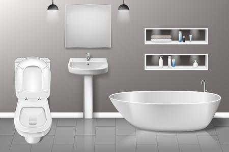 Bathroom furniture interior with modern bathroom sink, mirror, toilet on grey wall. Realistic bathroom interior design. vector illustration