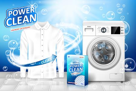 Annuncio di detersivo per bucato. Design banner smacchiatore con lavatrice realistica e pacchetto detersivo per bucato con camicia bianca pulita. illustrazione vettoriale EPS 10