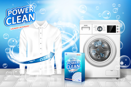 Laundry detergent ad. Stain remover banner design with realistic washing machine and laundry detergent package with clean white shirt. vector illustration EPS 10