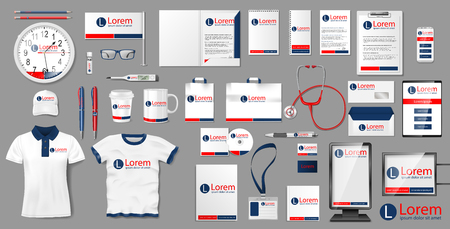 Corporate medical clinic Branding identity template design. Pharmacy Stationery mockup elements for presentation. Business Modern style medical template for your brand. Vector illustration EPS 10