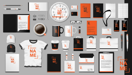 Corporate Branding identity template design. Modern Realistic colorful Business Stationery mockup. Stationery and uniform, paper pack, Coffee, package for your brand. Vector illustration Ilustrace