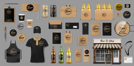 Corporate Branding identity template design for beer shop. Brewery elements for your Beer Pub or Bar. Realistic mockup for your brand. Vector illustration