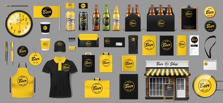 Set of realistic glass bottle, packaging box and aluminum can template design for beer shop. Brewery elements for your Brand Beer Pub or Bar. Vector illustration