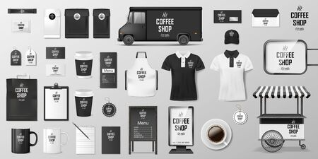 Branding corporate identity set for coffee shop, cafe or restaurant. Coffee mockup design. Realistic set of cardboard, Food delivery truck, cup, pack, shirt, menu 向量圖像
