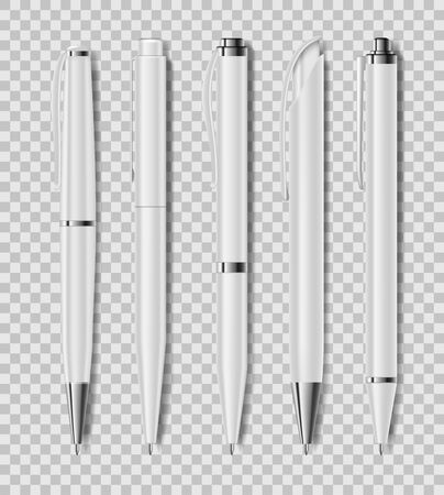 Set of office white pens isolated on transparent background. Office stationery, realistic pen. Vector illustration