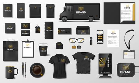 Corporate Branding identity template design. Modern Stationery mockup black and gold color. Vektorgrafik