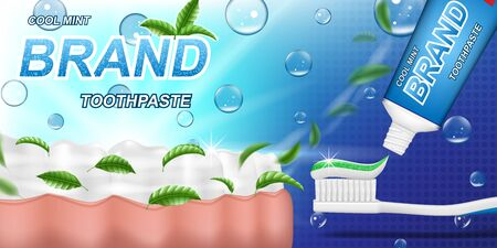 Fresh mint toothpaste ads, mint leaves background. Tooth model and product package design for dental care poster or advertising. 3d Vector illustration. Vettoriali
